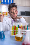 Yong funny scientist doing some crazy experiment Stock Photo
