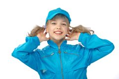 Yong girl in the blue cap Stock Images