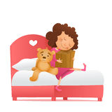 Yong girl with a gift waiting for miracle. Birthday morning Royalty Free Stock Photography