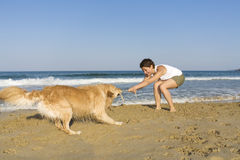 Yong girl playing with her dog Royalty Free Stock Images