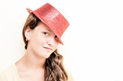 Yong girl red hat Stock Photos