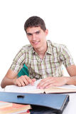 Yong happy student learning Royalty Free Stock Photography