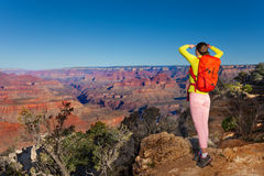 Yong hiker look at Grand canyon Stock Photography