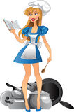 Yong kitchen mistress with cook book royalty free stock image