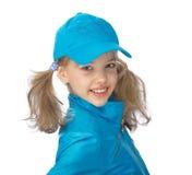 Yong-Mädchen in der blauen Schutzkappe Stockfoto