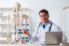 The yong male doctor with skeleton isolated on white. Yong male doctor with skeleton isolated on white Stock Photo