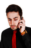 Yong man on cell phone. Royalty Free Stock Photography