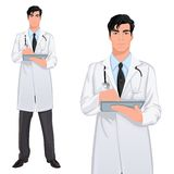 Yong man doctor. Medical professional handsome young doctor assistant standing in white lab coat with touch screen tablet PC vector illustration Royalty Free Stock Photography