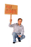 Yong man holding On Strike sign. Isolated on the white background Royalty Free Stock Image