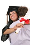Yong Man Hug and Congrat Female Graduate Student Royalty Free Stock Photography