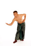 Yong man in pantaloons bows Royalty Free Stock Photos