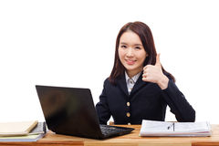 Yong pretty Asian student studying Royalty Free Stock Photo