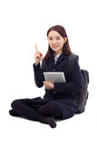 Yong pretty Asian student studying  with tablet PC Royalty Free Stock Photos