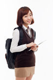 Yong pretty Asian student studying  with tablet PC Stock Photo