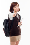 Yong pretty Asian student studying  with tablet PC Royalty Free Stock Images