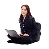 Yong pretty Asian student studying whit laptop Royalty Free Stock Photos