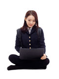 Yong pretty Asian student studying whit laptop Stock Images