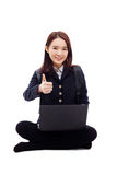 Yong pretty Asian student studying whit laptop Stock Image