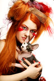 Yong princess with cat. Royalty Free Stock Images