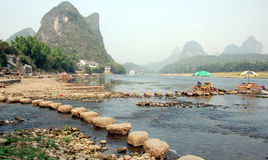Yong Shou. River side of Yong shou town in China Stock Photo