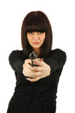 Yong Smiling Girl With A Gun Stock Photography