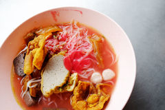 Yong tau foo - Asian noodle in the red soup Stock Photo