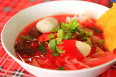 Yong tau foo. Close up Seafood yong tau foo is a Chinese soup dish with Hakka origins commonly found in China, Malaysia, Singapore and Thailand royalty free stock images