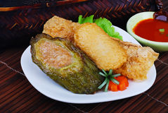 Yong Tau Fu. Stoppad asiatisk kokkonst av fiskpaste Royaltyfri Bild