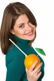 Yong woman. Woman with fruit isolatrd on white Royalty Free Stock Photography