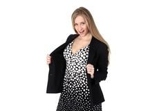 Yong woman in classic Retro Polka Dot Dress Royalty Free Stock Images
