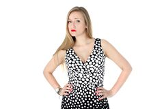 Yong woman in classic Retro Polka Dot Dress Royalty Free Stock Photos