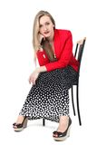Yong woman in classic Retro Polka Dot Dress Stock Photography