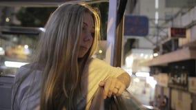 Yong Woman in een Tram stock video