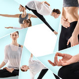 Yong woman and her daughter doing yoga exercises Stock Photo