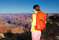 Yong woman hiker in Grand canyon Royalty Free Stock Images