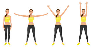 Yong woman make hands up and hands to the sides exercises. Fit girl in leggings and yellow crop top. Vector character. Stock Images