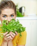 Yong woman with salad Royalty Free Stock Image