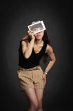 Yong woman with a tablet PC Stock Photo