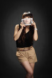 Yong woman with a tablet PC Stock Photography