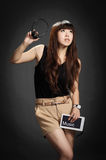 Yong woman with a tablet PC Royalty Free Stock Photography