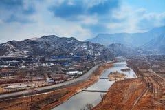 Yongdinghe Fluss im Winter Lizenzfreies Stockbild