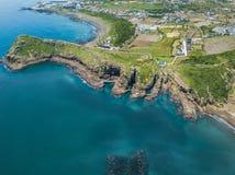Yongmeori沿海步行鸟瞰图在济州海岛,韩国上的 用侵蚀做的概略的地质结构 库存图片