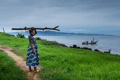 Yongoro,塞拉利昂,西非- Yongoro海滩  免版税库存照片
