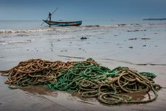 Yongoro,塞拉利昂,西非- Yongoro海滩  库存图片