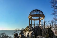 Yonkers, NY / United States - Feb. 23, 2017: Landscape vlew of Untermyer Park`s Temple of Love