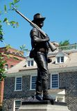 Yonkers, NY: World War I Doughboy Memorial. Yonkers, New York - July 13, 2009:   World War I doughboy soldier monument and statue in stands opposite the south Stock Photos