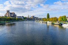 Yonne River and churches, in Auxerre Royalty Free Stock Photo