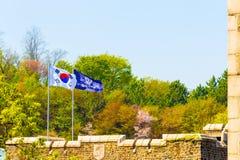 Yonsei University Korean Flag Trees Background Stock Image