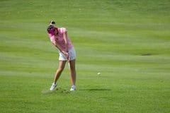 Yoopan hits a fairway shot at LPGA Malaysia stock images