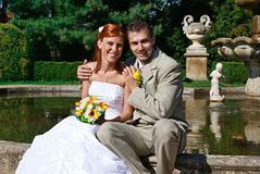 微笑的yooung新娘和新郎 免版税库存图片